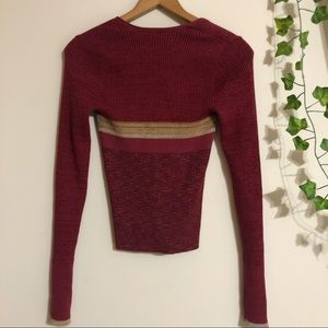 Free People Frequency Long Sleeve V-Neck Tee Sweater Retro Rose